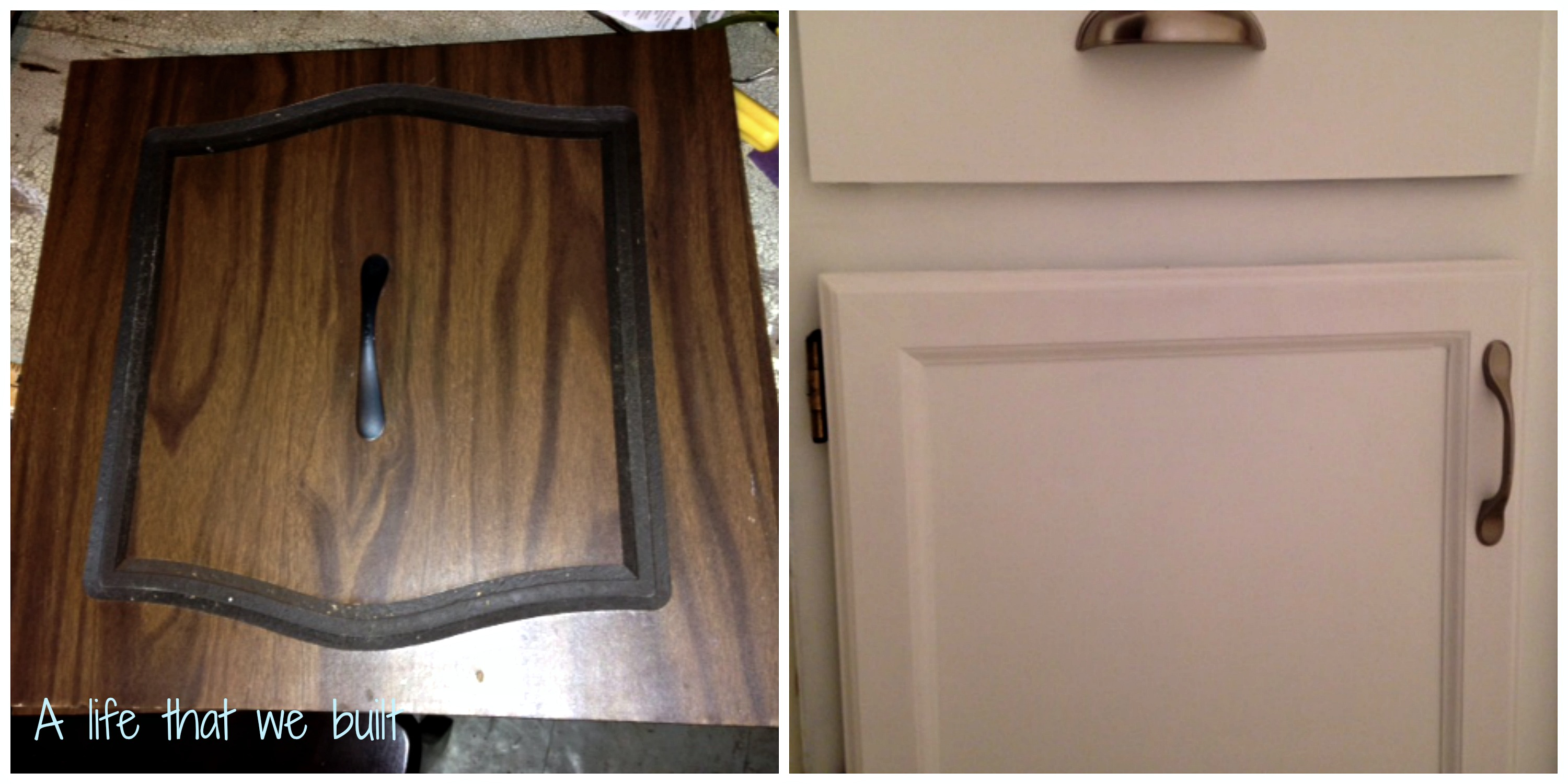 Diy cabinet door refinish a life that we built - How to redo bathroom cabinets for cheap ...